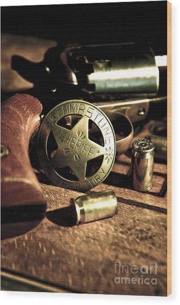 Badge And Gun Wood Print