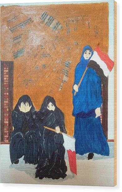 Bahraini Women Wood Print by Andrea Friedell