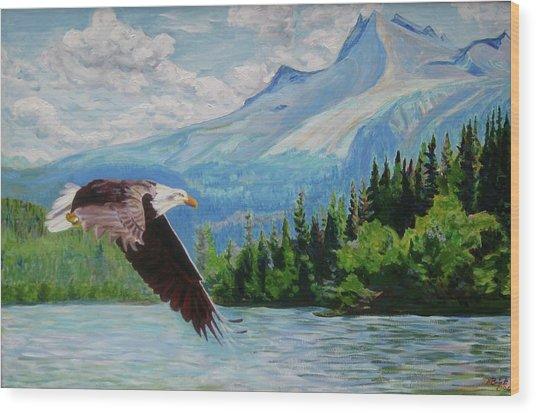 Bald Eagle Fishing Wood Print