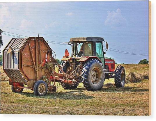 Baling Hay Wood Print by Barry Jones