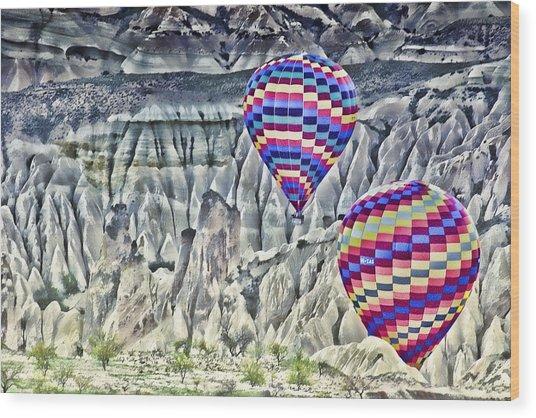 Balloon Rides In Cappadocia Wood Print by Beverly Hanson