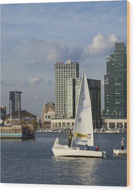 Baltimore Sail Boat - Maryland Wood Print by Brendan Reals