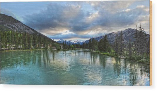 Banff And The Bow River - 01 Wood Print by Gregory Dyer