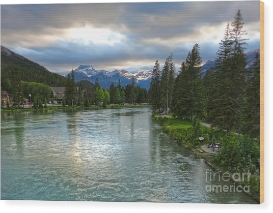 Banff And The Bow River - 02 Wood Print by Gregory Dyer