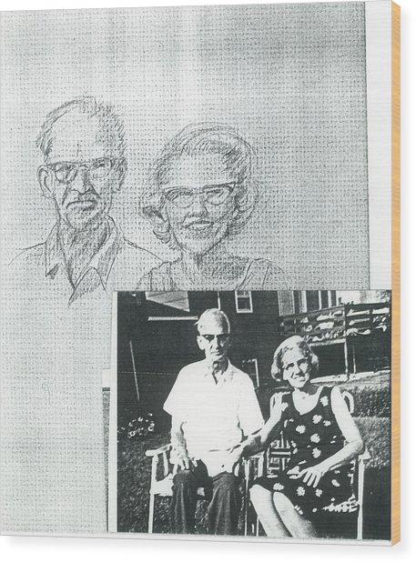 Bank Gal Parents Portrait Wood Print by Valerie VanOrden