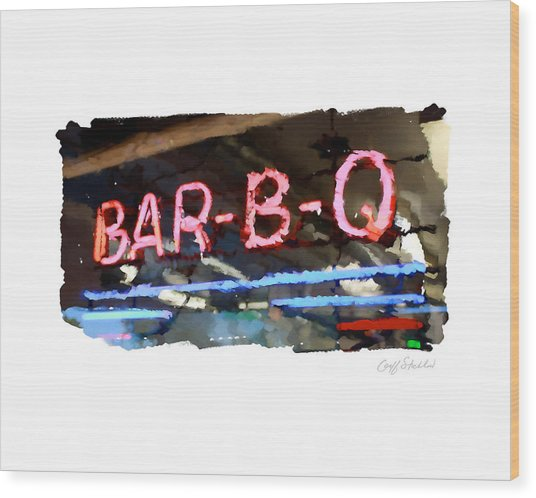 Bar-b-q Wood Print by Geoff Strehlow