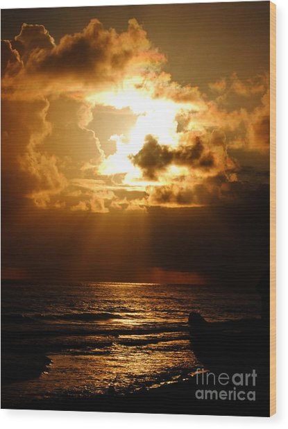 Barbadose Sunrise Wood Print by Lenroy Johnson