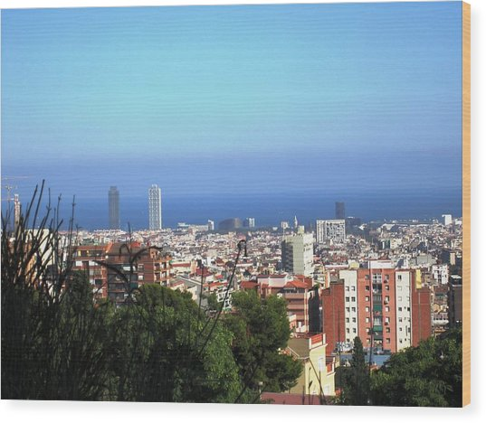 Barcelona Panoramic View IIi From Park Guell In Spain Wood Print by John Shiron
