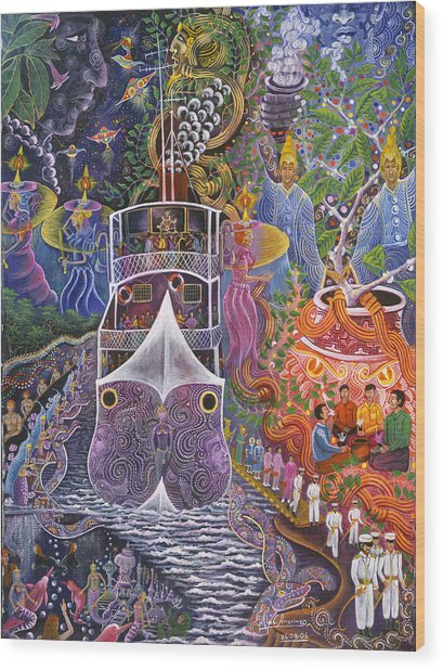 Wood Print featuring the painting Barco Fantasma by Pablo Amaringo
