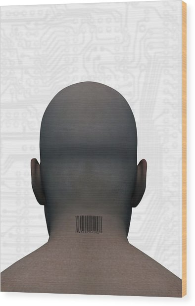 Barcoded Man, Artwork Wood Print by Victor Habbick Visions