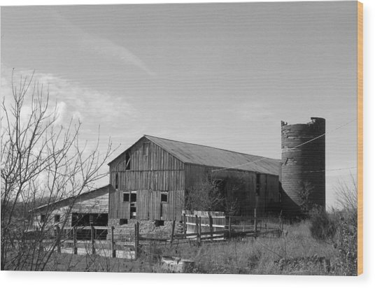 Barn In Black And White Wood Print by Brittany Roth