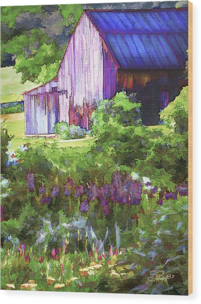 Barn In The Hollow Wood Print