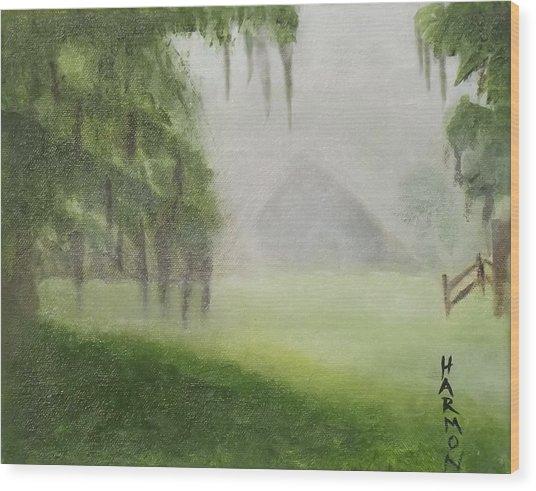 Barn On Foggy Morning Wood Print