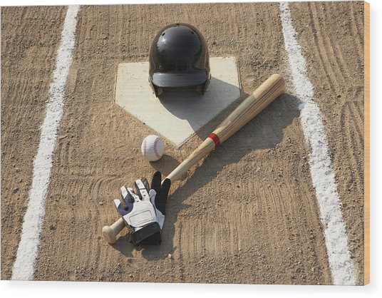 Baseball, Bat, Batting Gloves And Baseball Helmet At Home Plate Wood Print by Thomas Northcut