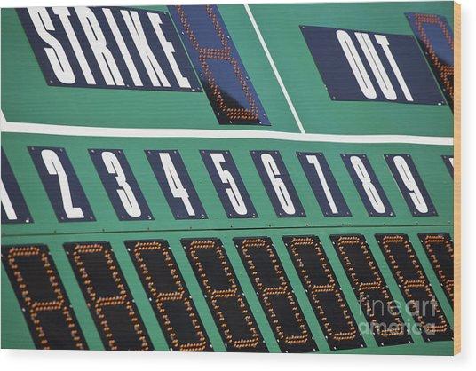 Baseball Scoreboard Wood Print by Bryan Mullennix
