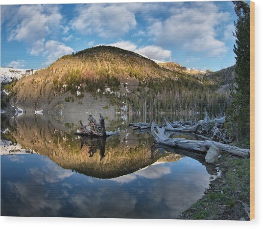 Basin Lake Sunrise Wood Print by Leland D Howard