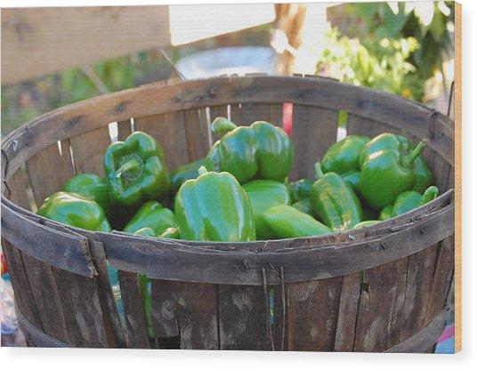 Basket Of Green Peppers Wood Print