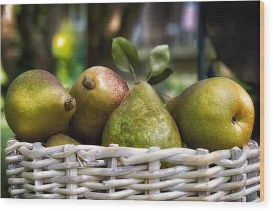 Basket Of Pears Wood Print