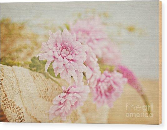 Basket Of Vintage Floral Goodness Wood Print