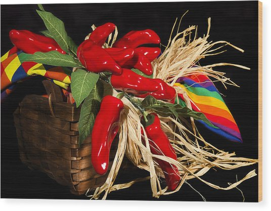 Basket Red Peppers Wood Print by Trudy Wilkerson