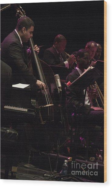 Bass Player Jams Jazz Wood Print