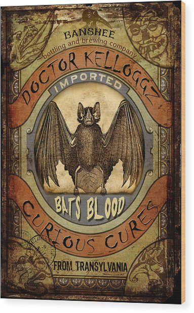 Bats Blood Wood Print