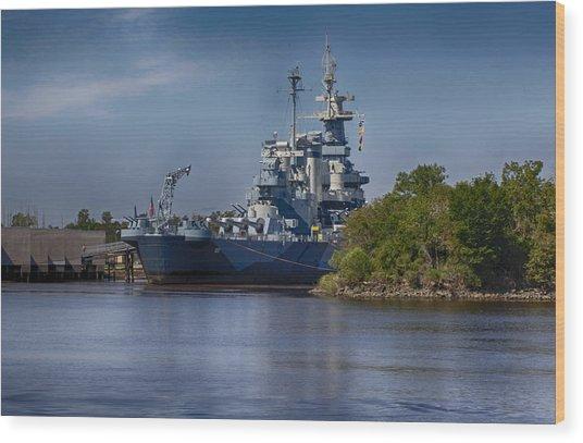 Battleship Nc Wood Print by Christina Durity