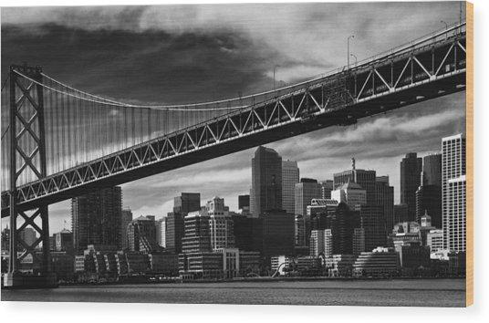 Bay Bridge And Dowtown San Francisco Wood Print by Laszlo Rekasi