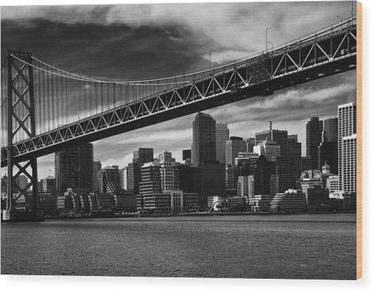 Bay Bridge And San Francisco Downtown Wood Print by Laszlo Rekasi