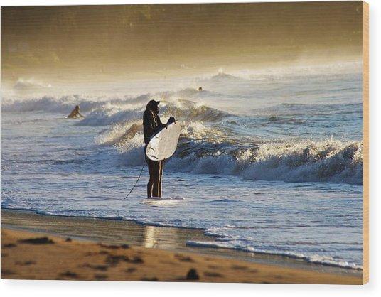 Beach Break Wood Print by Lennie Green