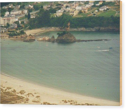 Beach In Galicia Wood Print by Jenny Senra Pampin