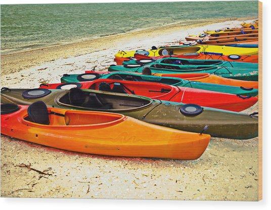 Beach Kayaks Wood Print