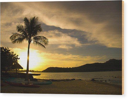 Beach Sunset With Bora Bora Palm Wood Print by Benjamin Clark