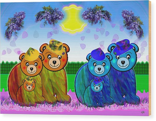 Bears Wood Print by Victoria Regueira