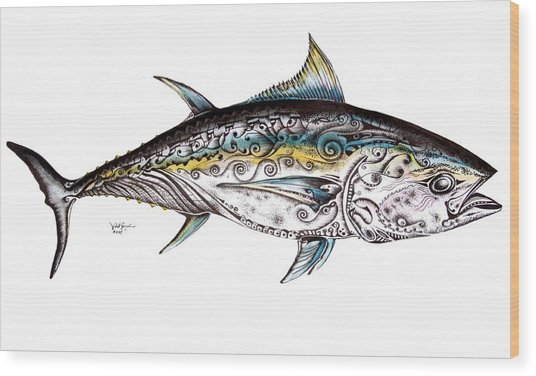Beautiful Blue Fin Wood Print