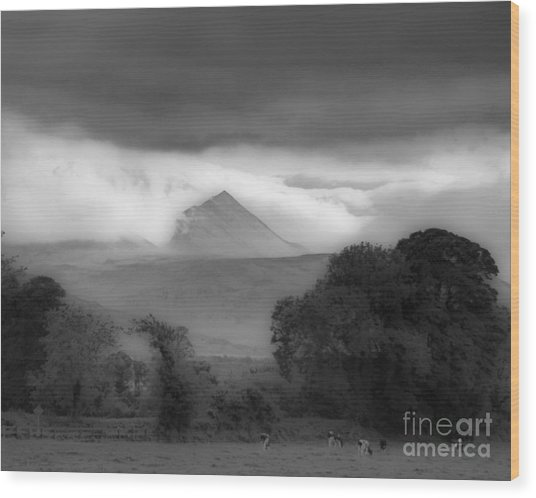 Beautiful Killarney Mountains Ireland Black And White Wood Print