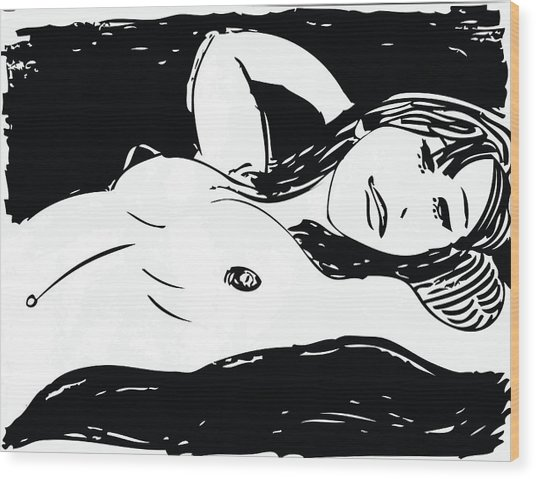 Beautiful Nude Girl Wood Print by Artistic Photos
