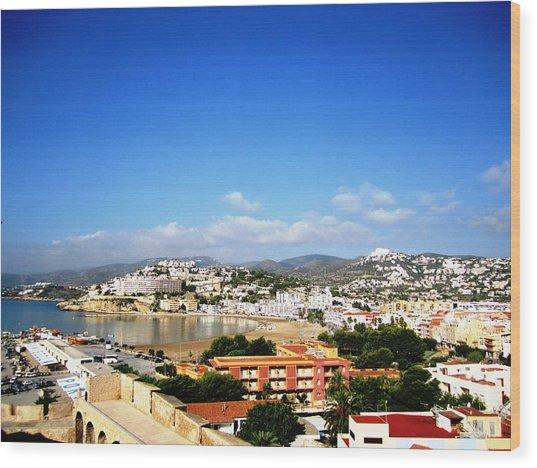 Beautiful Peniscola Beach Ocean View Homes Blue Sky In Spain Wood Print