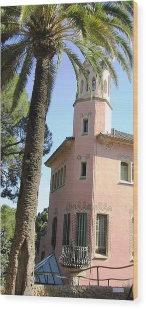 Beautiful Pink Architecture And Palm Tree At Park Guell Barcelona Spain Wood Print by John Shiron