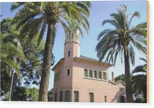 Beautiful Pink Architecture And Palm Tree II At Park Guell Barcelona Spain Wood Print by John Shiron