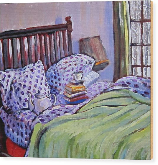 Bed And Books Wood Print