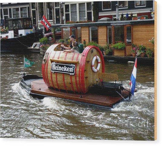 Beer Boat Wood Print