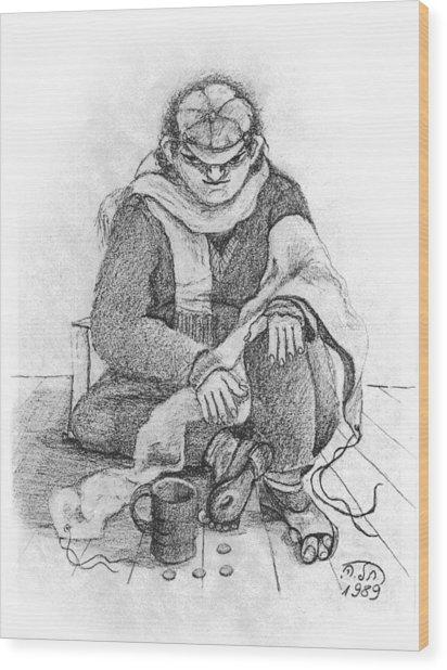 Beggar 2  In The  Winter Street Sitting On Floor Wearing Worn Out Cloths Wood Print
