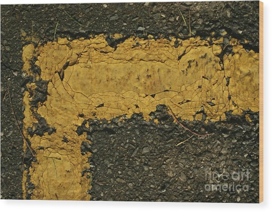 Behind The Yellow Line Wood Print