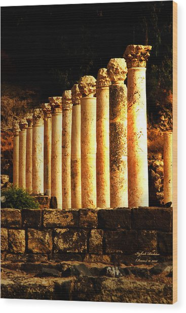 Beit She'an - Ancient Site - Colonnade.. Cardo 2 Wood Print