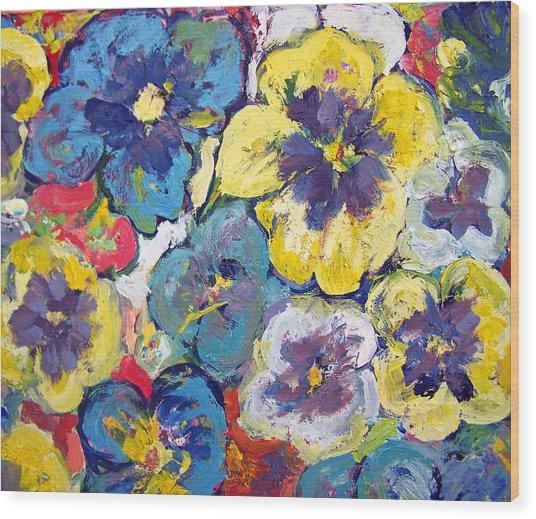 Bellagio Pansies Wood Print by Patricia Taylor