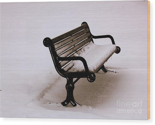 Bench  In Winter Wood Print
