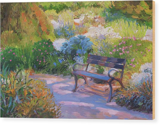 Bench On Margaret Island Wood Print