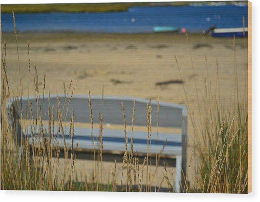Bench On The Beach Wood Print