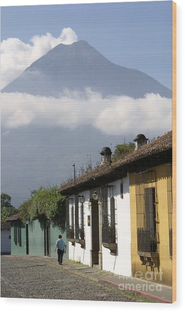 Beneath The Volcano Antigua Guatemala Wood Print